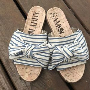Sam & Libby Bow Slide Sandals 6.5